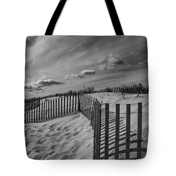 Dune And Snow Fence Tote Bag
