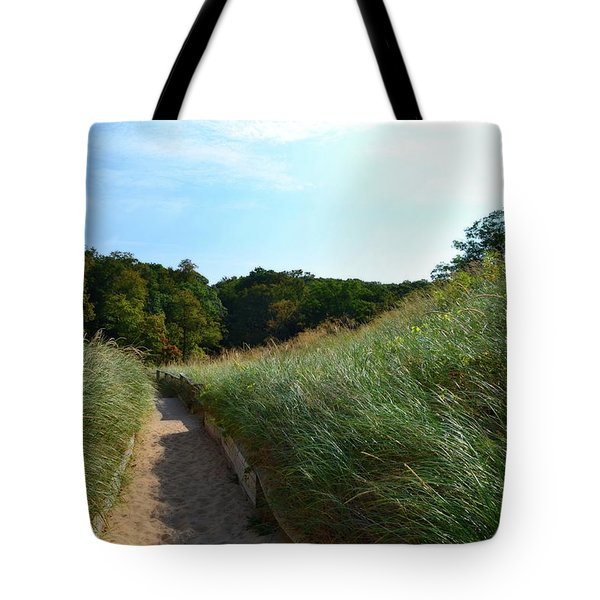 Tote Bag featuring the photograph Dune Path At Laketown by Michelle Calkins