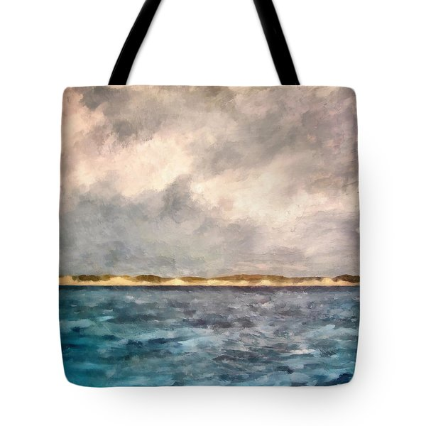 Dunes Of Lake Michigan With Rough Seas Tote Bag