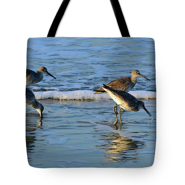 Dunking Willets Tote Bag by Bruce Gourley
