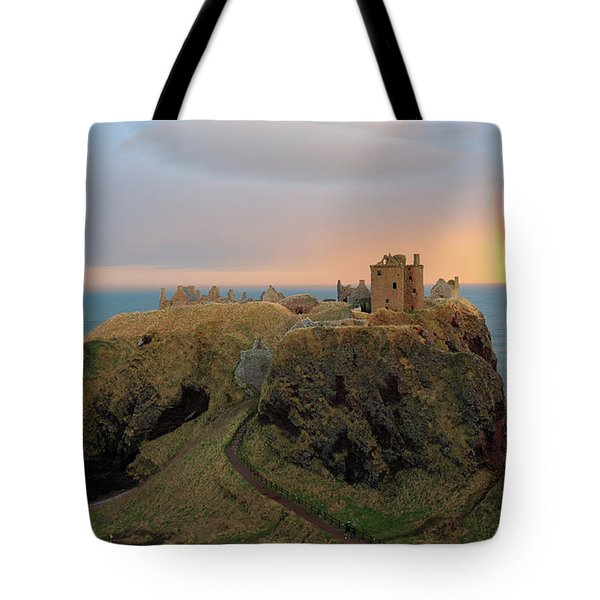 Dunnottar Castle Sunset Rainbow Tote Bag