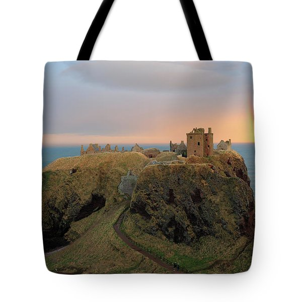 Dunnottar Castle Sunset Rainbow Tote Bag by Grant Glendinning