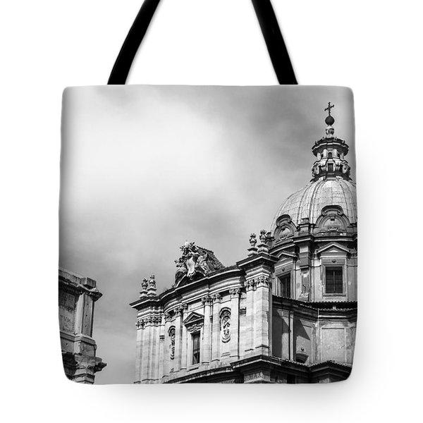 Duomo Of Santi Luca E Martina And Arch Of Septimius Severus  Tote Bag