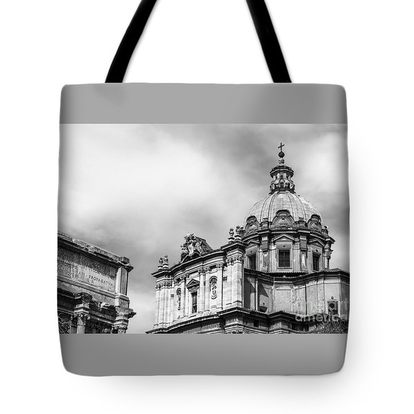 Duomo Of Santi Luca E Martina And Arch Of Septimius Severus  Tote Bag