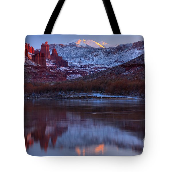 Tote Bag featuring the photograph Dusk At Fisher Towers by Adam Jewell