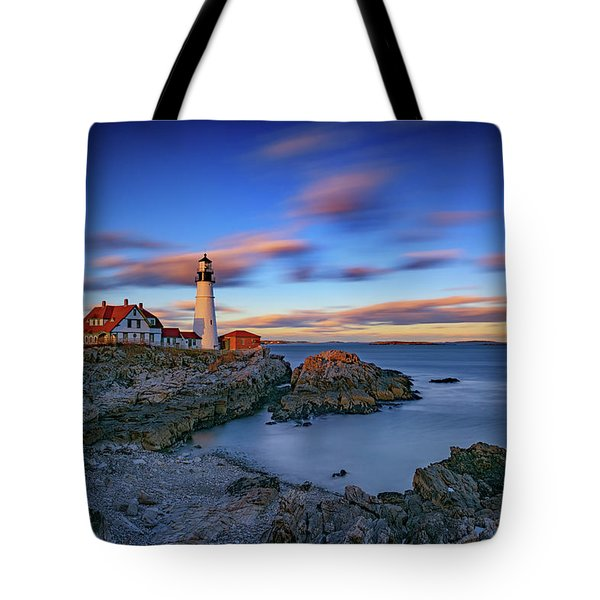 Dusk At Portland Head Lighthouse Tote Bag
