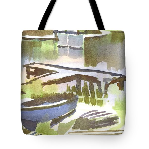 Tote Bag featuring the painting Dusk At The Boat Dock by Kip DeVore