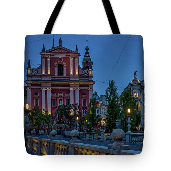 Tote Bag featuring the photograph Dusk At The Triple Bridge - Slovenia by Stuart Litoff