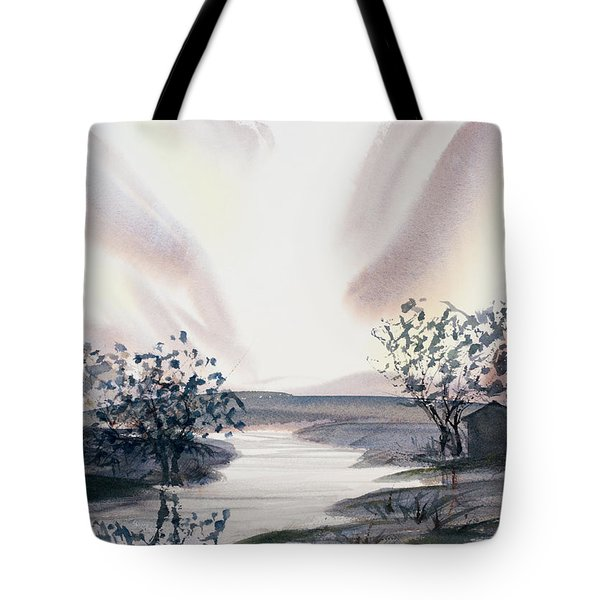 Dusk Creeping Up The River Tote Bag