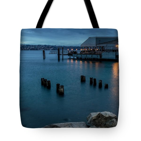 Dusk Falls Over The Lobster Shop Tote Bag