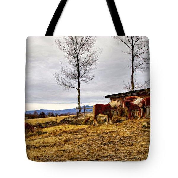 Dusk Feeding On The Farm Tote Bag