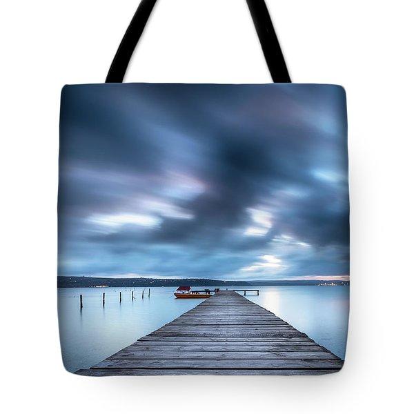 Dusk In Blue Satin Tote Bag by Evgeni Dinev