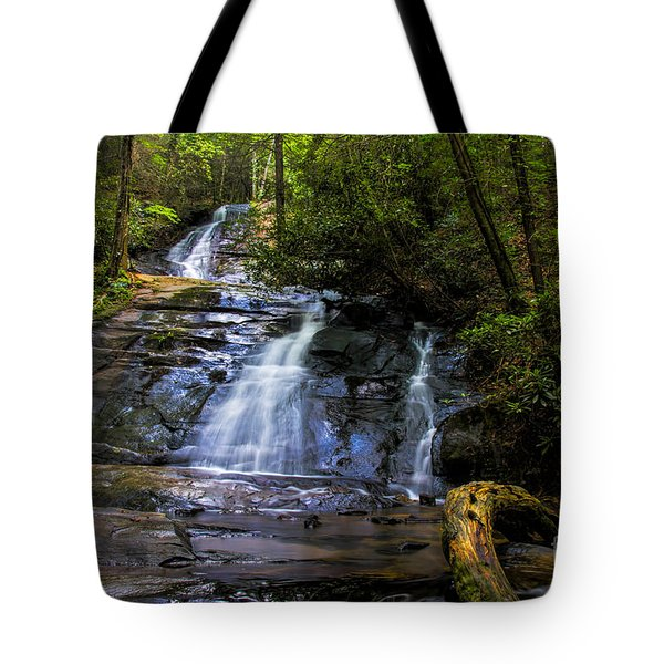 Tote Bag featuring the photograph Dusk Light At Flat Branch Falls by Barbara Bowen