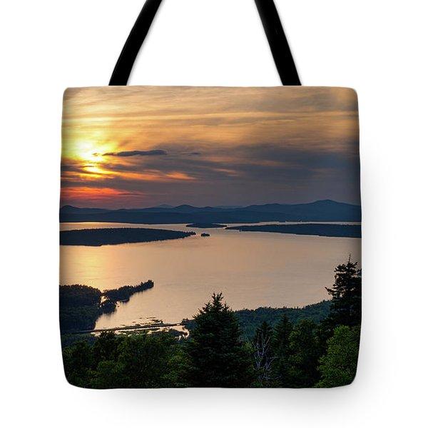 Tote Bag featuring the photograph Dusk, Mooselookmeguntic Lake, Rangeley, Maine -63362-63364 by John Bald