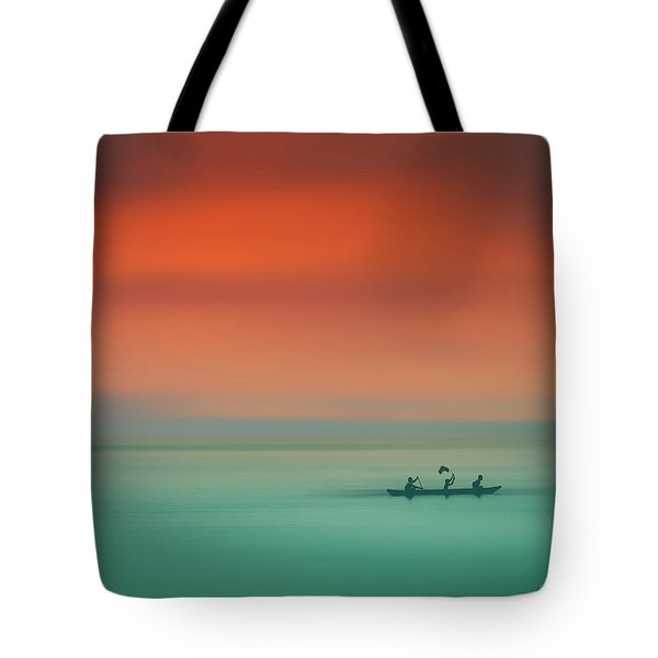 Dusk On The Lake Tote Bag by Marji Lang