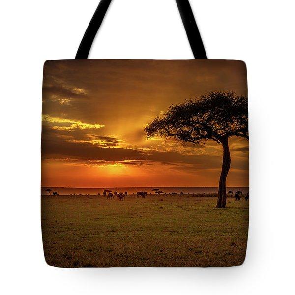 Dusk Over  The Serengeti Tote Bag