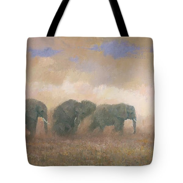 Tote Bag featuring the painting Dust Riders by Steve Mitchell