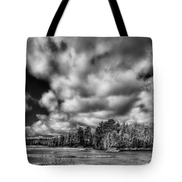 Tote Bag featuring the photograph Dusting Of Snow On The River by David Patterson