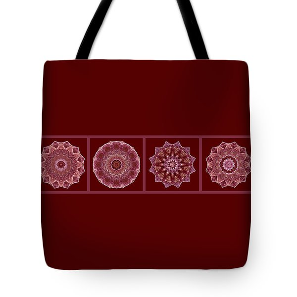 Dusty Rose Mandala Fractal Panel Tote Bag