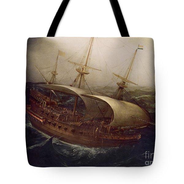 Dutch Battleship In A Storm Tote Bag by Hendrick Cornelisz Vroom
