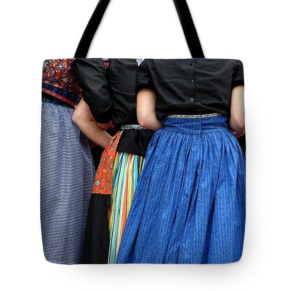 Dutch Dancers In A Huddle Tote Bag by Michelle Calkins