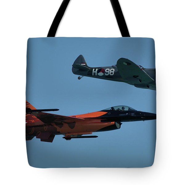 Dutch F-16 And Spitfire Tote Bag by Tim Beach
