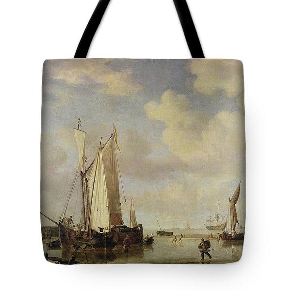 Dutch Vessels Inshore And Men Bathing Tote Bag by Willem van de Velde