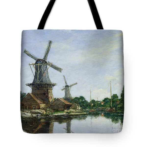 Dutch Windmills Tote Bag by Eugene Louis Boudin