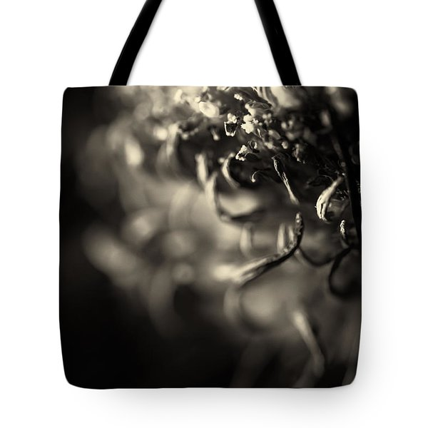 Faded Chrysanthemum Flower Abstract Print Tote Bag by John Williams
