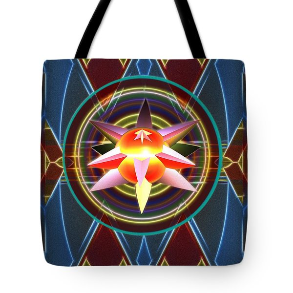 Tote Bag featuring the digital art Dynamic Star Spinner by Mario Carini