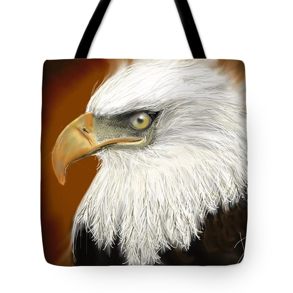 Tote Bag featuring the digital art Eagle American by Darren Cannell