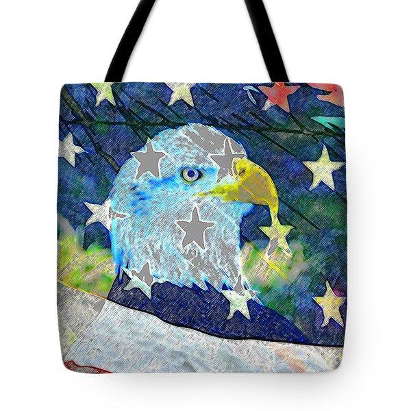 Tote Bag featuring the digital art Eagle Americana by David Lee Thompson