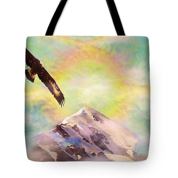 Tote Bag featuring the painting Eagle And Fire Rainbow Over Mt Tetnuldi Caucasus by Anastasia Savage Ealy