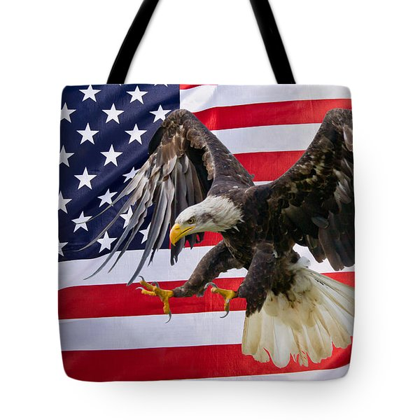 Eagle And Flag Tote Bag