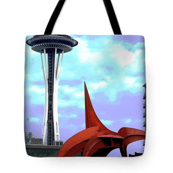 Tote Bag featuring the photograph Eagle And Space Needle Seattle by Yulia Kazansky