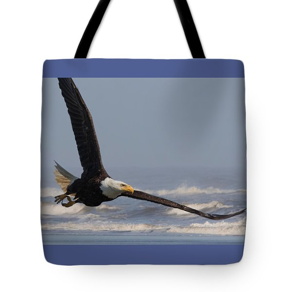 Eagle And Surf Tote Bag by Angie Vogel