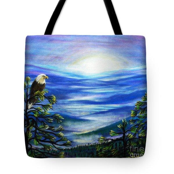 Tote Bag featuring the pastel Eagle Blue Ridge Mountain Sunrise by Patricia L Davidson