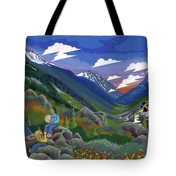 Tote Bag featuring the painting Eagle Boys Learn To Sing by Chholing Taha