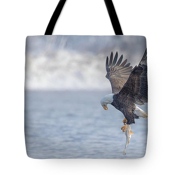 Eagle Fishing  Tote Bag by Kelly Marquardt
