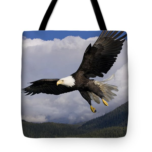 Eagle Flying In Sunlight Tote Bag by John Hyde - Printscapes