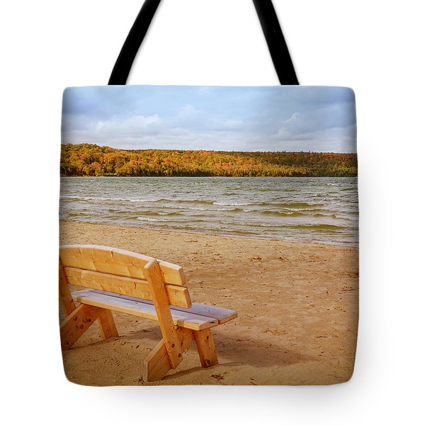 Tote Bag featuring the photograph Eagle Harbor Summer Is Over by Heidi Hermes