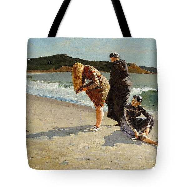 Tote Bag featuring the painting Eagle Head, Manchester, Massachusetts - 1870 by Winslow Homer