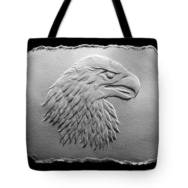 Tote Bag featuring the relief Eagle Head Relief Drawing by Suhas Tavkar