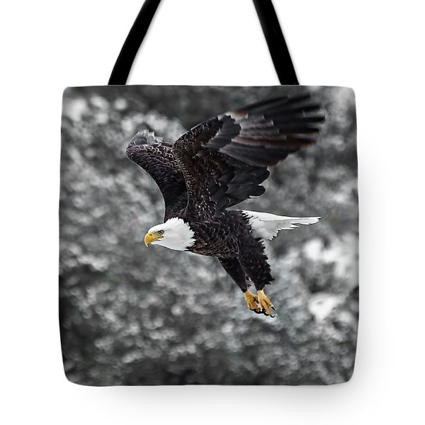 Tote Bag featuring the photograph Eagle In Flight by Britt Runyon