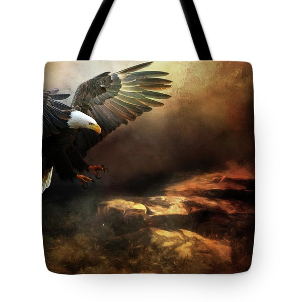 Eagle Is Landing Tote Bag