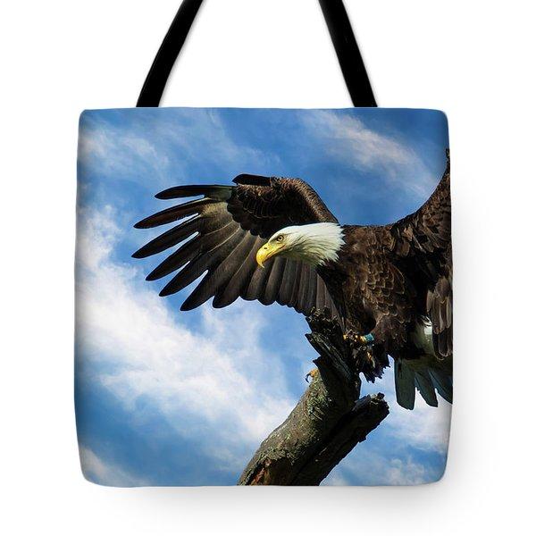 Eagle Landing On A Branch Tote Bag