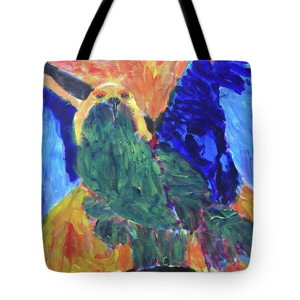 Tote Bag featuring the painting Standing Outside The Fire by Donald J Ryker III