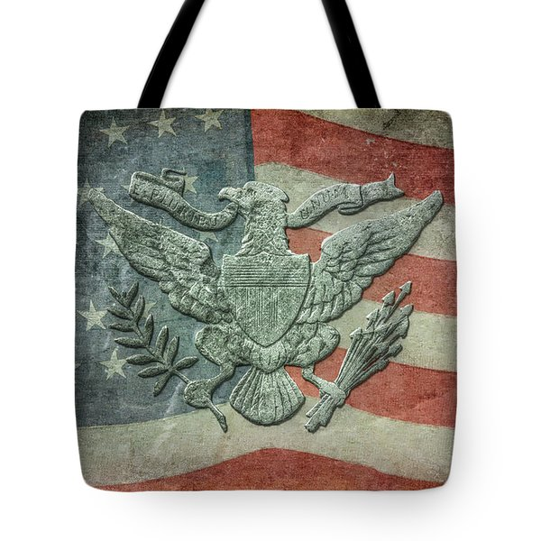 Tote Bag featuring the digital art Eagle On American Flag by Randy Steele