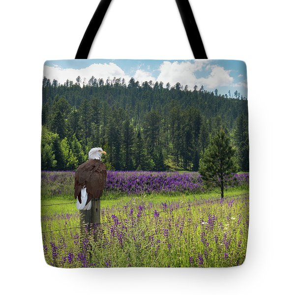 Eagle On Fence Post Tote Bag