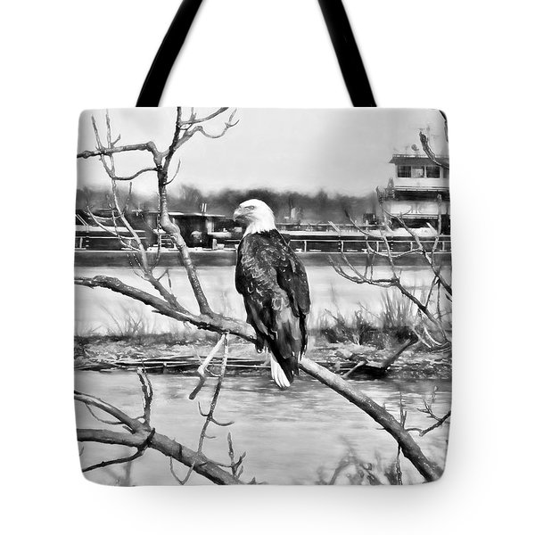 Eagle On The Illinois River Tote Bag by John Freidenberg